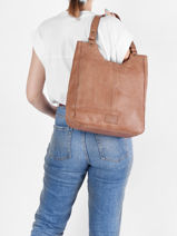 Leather Tote Bag Cow Basilic pepper Brown cow BCOW20-vue-porte