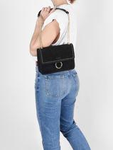 Medium Leather Velvet Crossbody Bag Milano Black velvet VG180602-vue-porte