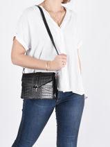 Leather Crossbody Bag Croco Milano Black croco CR19062N-vue-porte