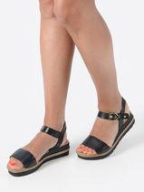 Sandals with wedge heel in leather-TAMARIS-vue-porte