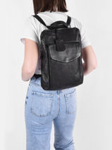 Leather Just Jackie Backpack Burkely Black just jackie 84-vue-porte