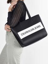 Sac Cabas A4 Denim  Calvin klein jeans Noir denim K608563-vue-porte