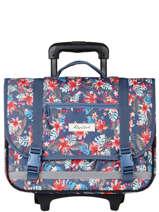 Wheeled Schoolbag 2 Compartments Rip curl Blue havana floral LBPQD1HF