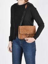 Shoulder Bag Velvet Milano Brown velvet VE180602-vue-porte