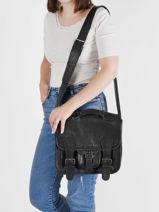 Leather Cartable Shoulder Bag Paul marius Black vintage S-vue-porte
