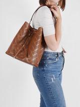 Shoulder Bag Dryden Leather Lauren ralph lauren Brown dryden 31818854-vue-porte