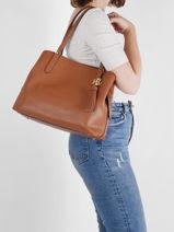 Shoulder Bag Quinn Leather Lauren ralph lauren Brown quinn 31818738-vue-porte