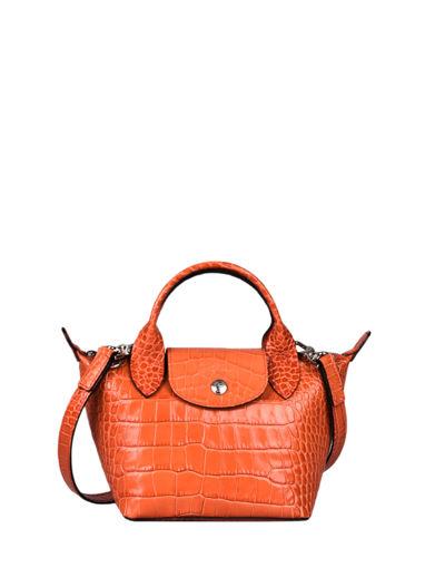 Longchamp Le pliage cuir croco Handbag Black