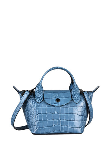Longchamp Le pliage cuir croco Sacs porté main Bleu
