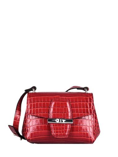 Longchamp Roseau Croco Messenger bag Red