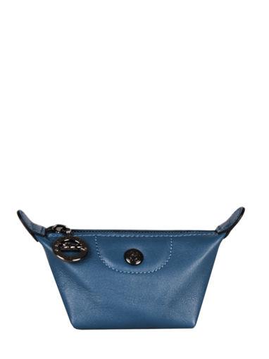Longchamp Le pliage cuir Coin purse Blue