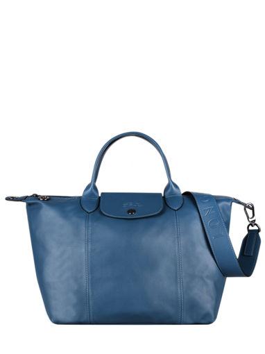 Longchamp Le pliage cuir Sacs porté main Bleu