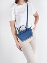 Longchamp Le pliage cuir Handbag Blue-vue-porte
