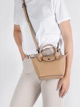 Longchamp Le pliage cuir boxy Handbag Beige-vue-porte