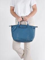Longchamp Le pliage cuir Sacs porté main Bleu-vue-porte