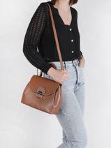 Leather Foulonné Pia Top-handle Bag Lancaster Brown foulonne pia 62-vue-porte