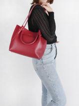 Shoulder Bag Foulonne Double Leather Lancaster Red foulonne double 20-vue-porte