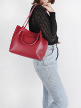 Sac Shopping Foulonne Double Cuir Lancaster Rouge foulonne double 20-vue-porte
