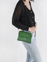 Leather Crossbody Bag Smooth Even Lancaster Green smooth even 16-vue-porte