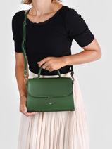 Shoulder Bag Smooth Even Lancaster Green smooth even 17-vue-porte