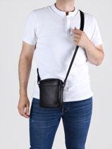 Shoulder Bag Soft Vintage Homme Leather Lancaster Black soft vintage homme 24-vue-porte