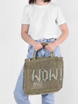 """Sac Cabas """"wow!"""" Format A4 Paille The jacksons Vert word bag S-WOW-vue-porte"""