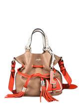 Small Leather Bucket Bag Premier Flirt Lancel Orange premier flirt A10530
