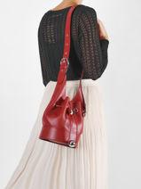 Small Leather Chéri Bucket Bag Lancel Red cheri A11772-vue-porte