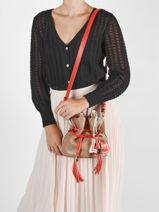 Small Leather Bucket Bag Premier Flirt Lancel Orange premier flirt A10530-vue-porte