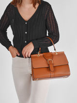 Leather Equilibre Top-handle Bag Etrier Brown equilibre EEQU001L-vue-porte