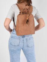 Backpack Woomen Brown nervure WNER02-vue-porte