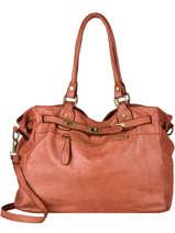 Shoulder Bag Canevas Leather Milano Brown dewashed DE21061