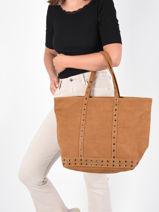 Suede Leather Zipped Cabas Vanessa bruno Brown cabas cuir 22V40409-vue-porte