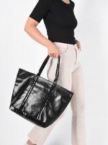 Shopper Cabas Cuir Leather Vanessa bruno Black cabas cuir 2V40409-vue-porte
