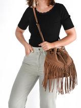 Shoulder Bag Velvet Suede Milano Brown velvet VE21063-vue-porte
