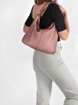 Leather Dewashed Shoulder Bag Milano Pink dewashed DE20072-vue-porte