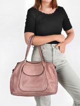 Leather Dewashed Shoulder Bag Milano Pink dewashed DE20073-vue-porte