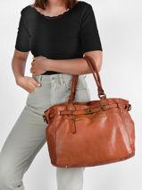 Shoulder Bag Canevas Leather Milano Brown dewashed DE21061-vue-porte