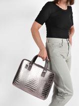 Leather Croco Briefcase Milano Brown croco CR19064N-vue-porte