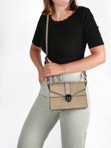 Leather Crossbody Bag Croco Milano Gray croco CR19062N-vue-porte