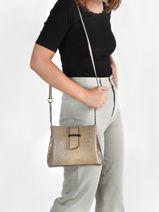 Leather Crossbody Bag Croco Milano Gray croco CR19112N-vue-porte