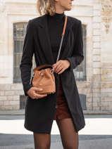 Leather Ninon Mini Bucket Bag Lancel Brown ninon A11466