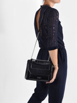 Medium Leather Ninon Croco Glossy Bag Lancel Black ninon A11742-vue-porte