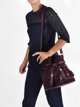 Suede Leather Premier Flirt Bucket Bag Lancel Violet premier flirt A11755-vue-porte