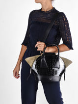 Leather Macaron Croco Top-handle Bag Lancel Black macaron A11733-vue-porte