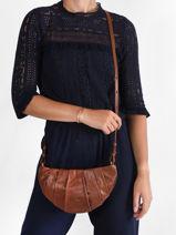 Shoulder Bag Vintage Leather Nat et nin Brown vintage CROISSAN-vue-porte
