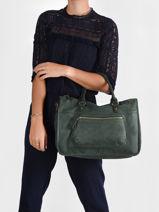 Shoulder Bag A4 Vintage Leather Nat et nin Green vintage TEGAN-vue-porte