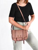 Small Leather Dewashed Crossbody Bag Milano Pink dewashed DE20122-vue-porte