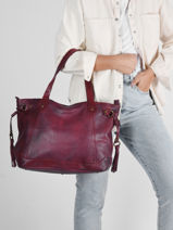 Shoulder Bag Cow Leather Basilic pepper Violet cow BCOW42-vue-porte