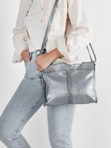 Crossbody Bag Metallic Leather Basilic pepper Silver metallic BMET38-vue-porte